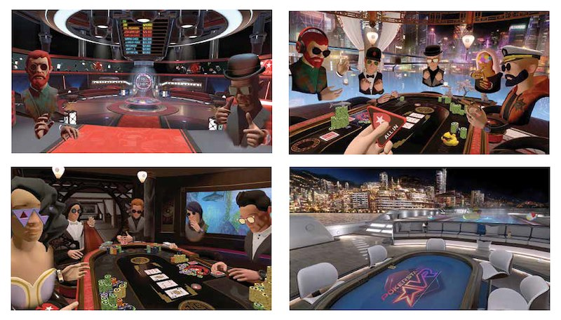 Four different environments to play PokerStars virtual reality game