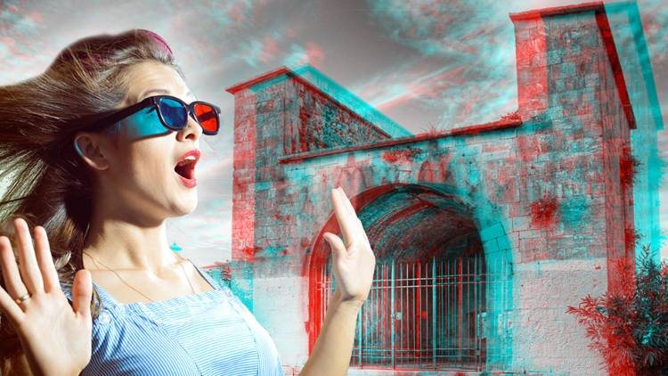 A girl with Anaglyph 3D TV Glass