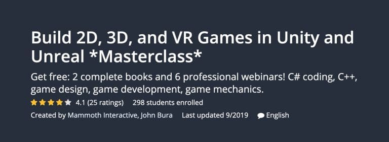 Udemy 2D, 3D, and VR Games Masterclass